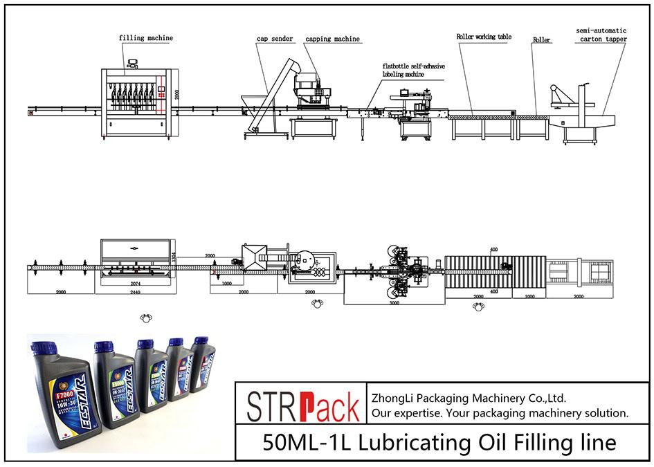 Automatisk 50ML-1L smøreoljefyllingslinje