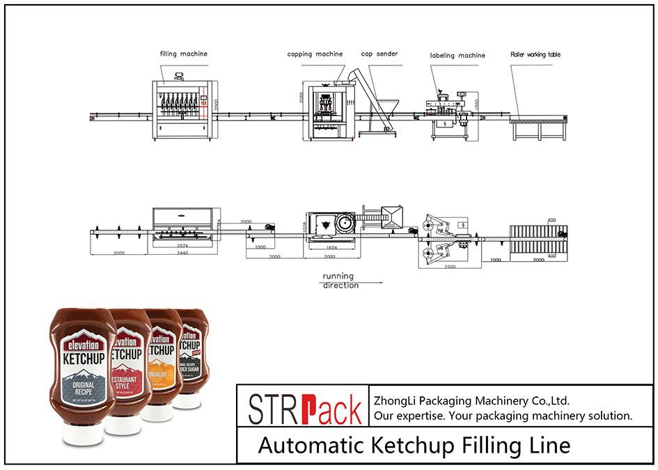 Automatisk fyllingslinje for ketchup