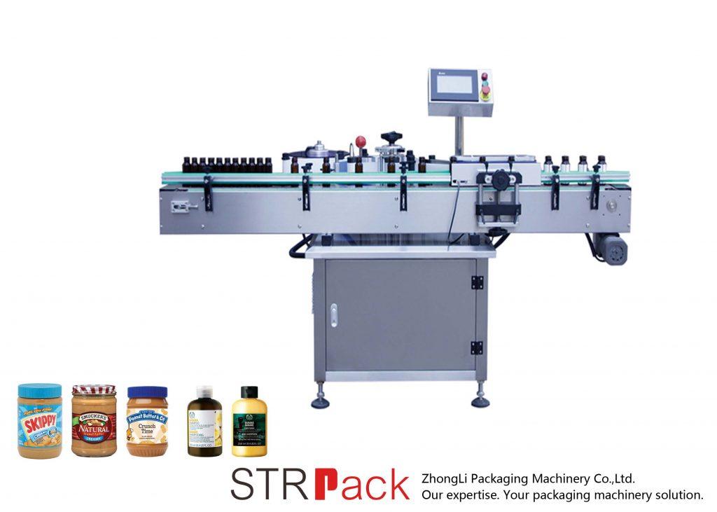 Vertikal selvklebende maskin for rund flaske